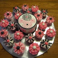 Pink/black Bridal Shower This is a Vanilla 6 inch round and 35 cupcakes (not all pictured). These were made to match the Bridal Shower Invitations. Buttercream...