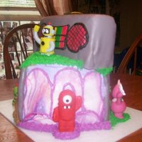 Yo Gabba Gabba Yo Gabba Gabba Cake for a 1st Birthday. Buttercream with MMF accents on bottom cake, Radio is cake covered in MMF with MMF accents. All 4...