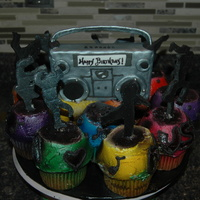 Hiphop Birthday Hip Hop dancers with boom box. Jumbo cupcake with fondant dancers. Boombox is rkt covered in fondant. This was my least favorite cakes ever...