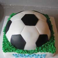 Soccer Ball Baby Shower Cake this lady asked me to make a simple soccer ball cake saying Welcome Baby Eli so all I did is stacked the ball on a squared cake and added...