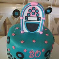 Rock N Roll Fondant Cake made this cake for my 30th Birthday Party we had a 1950's Rock N Roll Theme