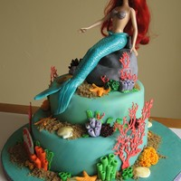 "Little Mermaid Cake Vanilla cake filled with dulce de leche filling, 8"" and 10"" tier. Covered with fondant, and accents all fondant and royal icing...."