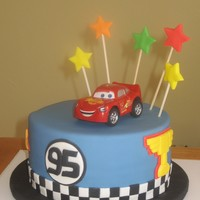 "Cars Cake Chocolate 8"" cake, covered with fondant, fondant accents"