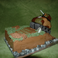 Army Tank Cake Landon wanted a really cool army cake for his birthday.I believe this was a 12in pound cake. I used scraps to build the ramp and covered/...