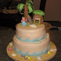 Beach/hawaii Theme For 9 Year Old  This is a strawberry filled yellow cake covered with marshmallow fondant. The characters were made using 50/50 Wilton's Fondant/...