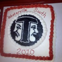 "Grad Cake With Thespian Logo 10"" French Vanilla cake with buttercream filling and frosting. Logo is FBCT"