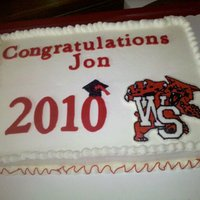 Wildcat Graduation 12x18 half sheet cake, chocolate chocolate cake with buttercream frosting. Fondant lettering and 2010 cut with cricut, piped grad cap and...