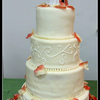"White Round Wedding Cake My first wedding cake. 6, 8, 10, 12"" All White Almond Sour Cream Cake with alternating tiers of lemon filling and white chocolate/..."