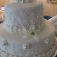 Lily And Rose Wedding Cake Swiss dots , dot swag w/silver dragees