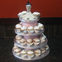 Bridal Dress Cupcake Tower white fondant bridal dress- sparkle waist accent. strawberry cupcakes w/ cream filling,smbc swirl top w/ hand made apple blossom flower...