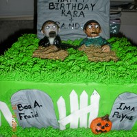 Zombie Cake This a double layer 12 inch square iced in butter cream. The tombstone is cardboard covered in fondant. The zombies are gum paste and...
