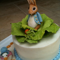 Peter Rabbit And Friends Baby shower cake with Peter Rabbit theme. Includes Jemima Puddle duck and Timmy Willie mouse, all in sugar paste.