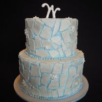 Blue Tile A tiny wedding cake with fondant tiles. It's air brushed with a white pearl that looks really pretty in person, but it's hard to...