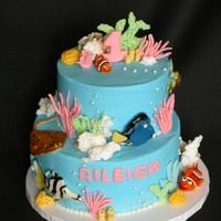 Coral Reef Birthday Buttercream frosted with fondant accents. Everything is edible. The fish were shaped and hand painted, the white coral is cooked royal...