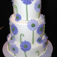Teacher Appreciation Cake Three tier fondant covered vanilla cake with strawberry buttercream. Embellished with purple fondant daisies. I've seen seen this cake...