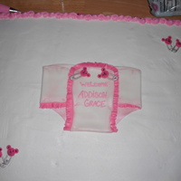 Addison Grace Baby Shower Vamilla cake with vanilla b/c, fondant diaper and gumpast bear safety pins. Tfl