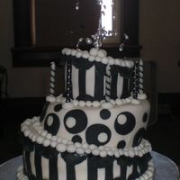 Misty's Wonky Cake Birthday cake for Misty. Black and white Wonky cake. Red velvet cake with Amish Buttercream icing.