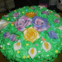 Flower Basket Angel food cake, whipped icing, fondant flowers