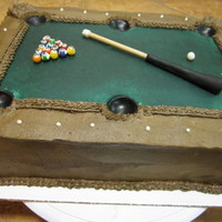 Pool Table Groom's Cake  This one was a challenge for me, I haven't worked enough with realistic buttercream. The cake is chocolate with vanilla buttercream (...