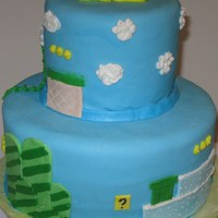 Mario Cake Blue MMF depicting the Mario Brother's background. This cake was for my step son's 11th birthday. He loved it!!