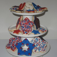 4Th Of July Cookies Sugar cookies decorated with royal icing for teh 4th of July.
