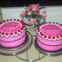 Hot Pink Birthday Cake BC icing, rosettes on top for cherries, shell border