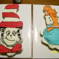 Cat In The Hat & Fish In Bowl   Both of these are cupcake cakes I made for my daughters school. I freehanded the designs.