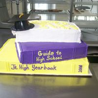 Off To High School 2 - 9X13 cakes were used to make this cake. The bottom is a full 9X13 and the other two are made of a 9X13 cut slightly off center. Each...