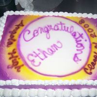"Non Girlish Graduation Cake! this was an 11 X 15 sheet cake frosted with buttercream. I laid an 8"" cake cardboard in the center and air brushed with purple and..."