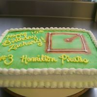 Make It A Home Run Birthday! This 9X13 sheet cake was decorated with buttercream. air brushed a baseball field on it for a 10 yr old birthday and decorated it with...
