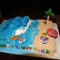 "Surfing ""pro"" This was my first try at using fondant and gum paste...I had a blast making this cake!"