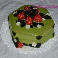 Strawberries Ii.   Green Chocolate icing, marzipan