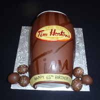 Tim Hortons Cup  A cake for a chocolate addict! fondant, buttercream, mousse, and cake all chocolate:) First time hand painting a cake and i was happy how...