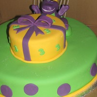 Barney Cake Given this photo to make for a 3yr old birthday. Learned alot about figures after this cake!!