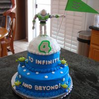 Buzz Lightyear Cake Buttercream was used to frost the cake. Fondant for the stars and wording. Bought the Buzz and aliens at the Disney store. Put the Happy...