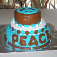 Peace Cake It's lumpy I know, but it's my very First cake ever. My daughter loved it, and so did all her friends!!I never attended a class...