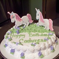 Unicorn My granddaughter wanted a unicorn cake and I did not have time to try and model one out of fondant. could not fine color flow mix so used...