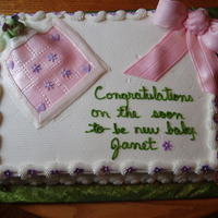 First Fondant Bow Baby shower cake where I was given free reign