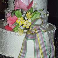 Scrolls Made some gumpaste flowers and used a scroll design sheet on buttercream frosting. The cake is straight and level it is the way I took the...