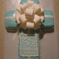 "Baby Dedication Cake Carrot Cake w/ cream cheese icing & Wilton Bow. Fondant ""plaque"" w/ piped buttercream."