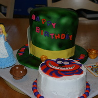 Alice, Mad Hatter's Hat And Cheshire Cat Each piece was a cake for a different child (3) celebrating the same birthday.