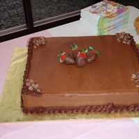 "Chocolate Chocolate Birthday Cake Chocolate fudge cake with fudge frosting. This was one of 3 half sheet cakes for a 90th birthday. My first ""big"" order. Pretty..."