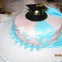 Blue Graduation An 8 in. round cake covered in white fondant with a drping blue curtain on the side. Also with blue borders and gum paste daisies