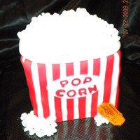 Popcorn Box Popcorn box cake for a one year olds first birthday. Marble cake with ganauche filling.