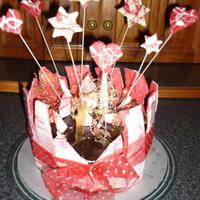 Uneven Marbled Shards Plus Stars And Hearts On Wires My first attempt at marbled shards, in my decorating cakes with chocolate course. I got distracted and let my chocolate cool down too much...