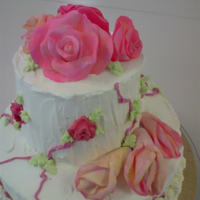 Fondant Roses On Fresh Cream Made this for my first lesson on 2 Tier Special Occasion Cakes. Made the fondant roses at home (third attempt now, no training, so am still...