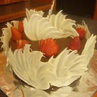 Chocolate Cake With White Chocolate Shards And Strawberries   Made this for a bar-b-cue we just had.