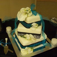 Wedding Cake square 6, 8, 12 offset WASC w/bavarian filling, buttercream covered in fondant.