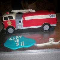 Fire Truck first attempt at a fire truck! WASC w/buttercream and fondant.
