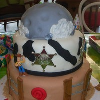 Toy Story For Two! WASC w/raspberry filling, fondant over bc. Had a lot of fun with this one!